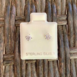 Sterling Silver 4mm Cubic Zirconia Studs Earrings